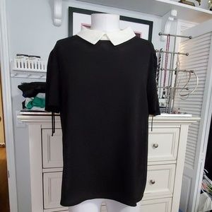 CECE BLACK TOP CREAM COLLAR SZ XL NWT